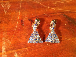 Triangle Shaped Clip on Earrings with Many Blue and Green Crystals
