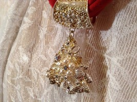 Tree Decorated Bells Stars Gold Tone Silver Crystals White Beads Scarf Pendant