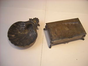 Trinket Box and Reproduction English Sheffield Tray