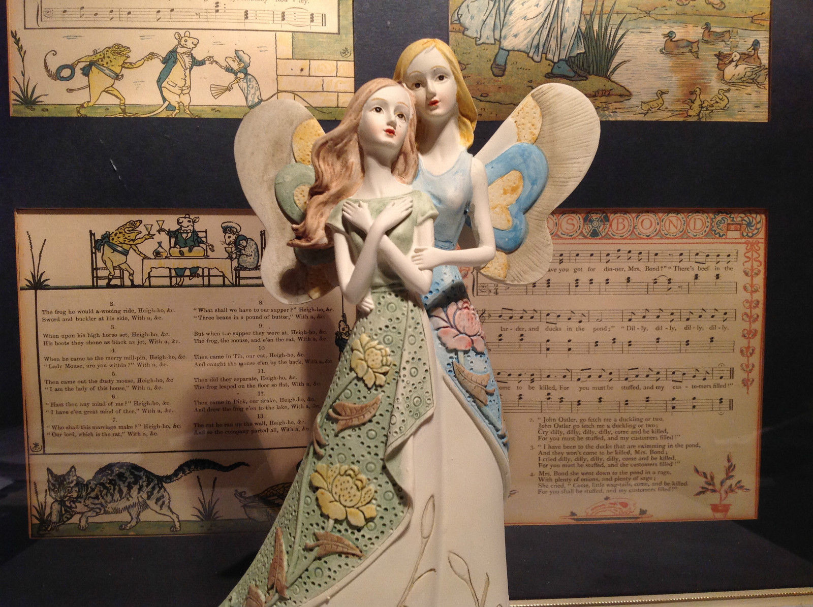 Two Angels Mira Flora Handcrafted Resin Angel Figurine