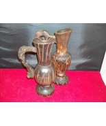 Two Carved Wooden Urn Candle Holders Made in Spain - $39.99