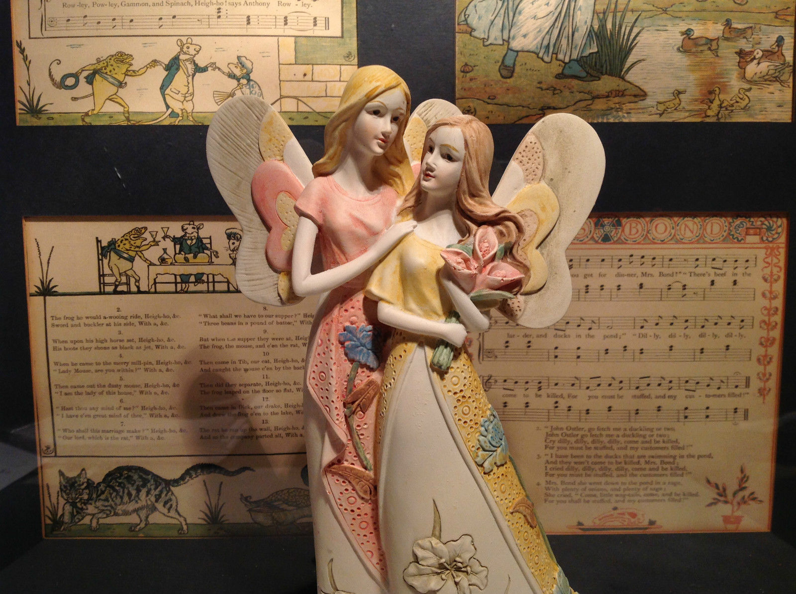 Two Beautiful Angels Mira Flora Handcrafted Resin Angel Figurine