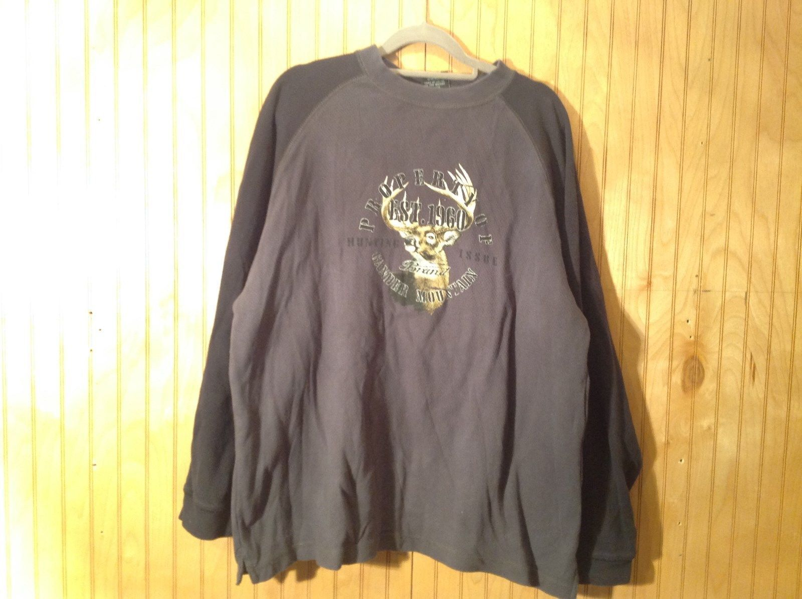 Two Color Gray Long Sleeve Graphic Shirt Property of Gander Mountain Size XL