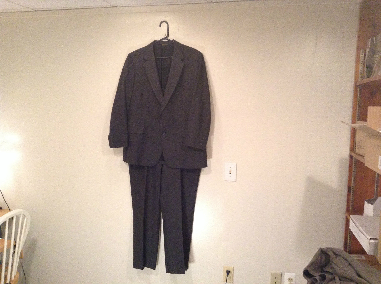 Two Piece Pants and Jacket Dark Gray Wool Suit Size XL to XXL NO TAG Kingsridge