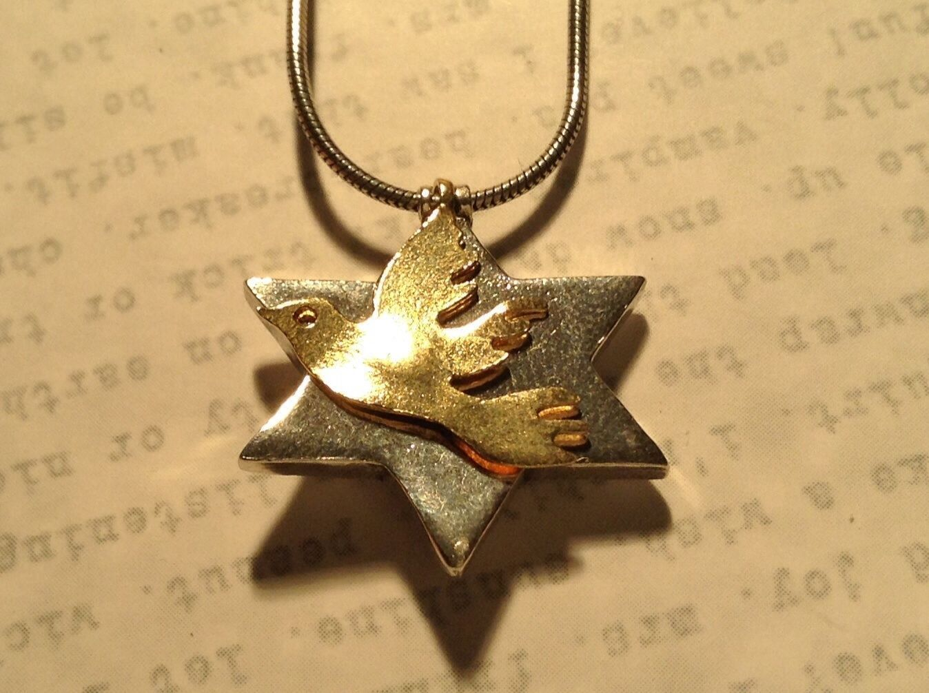 Two Piece Pendant Star of David Gold Plated Piece One Micron Necklace