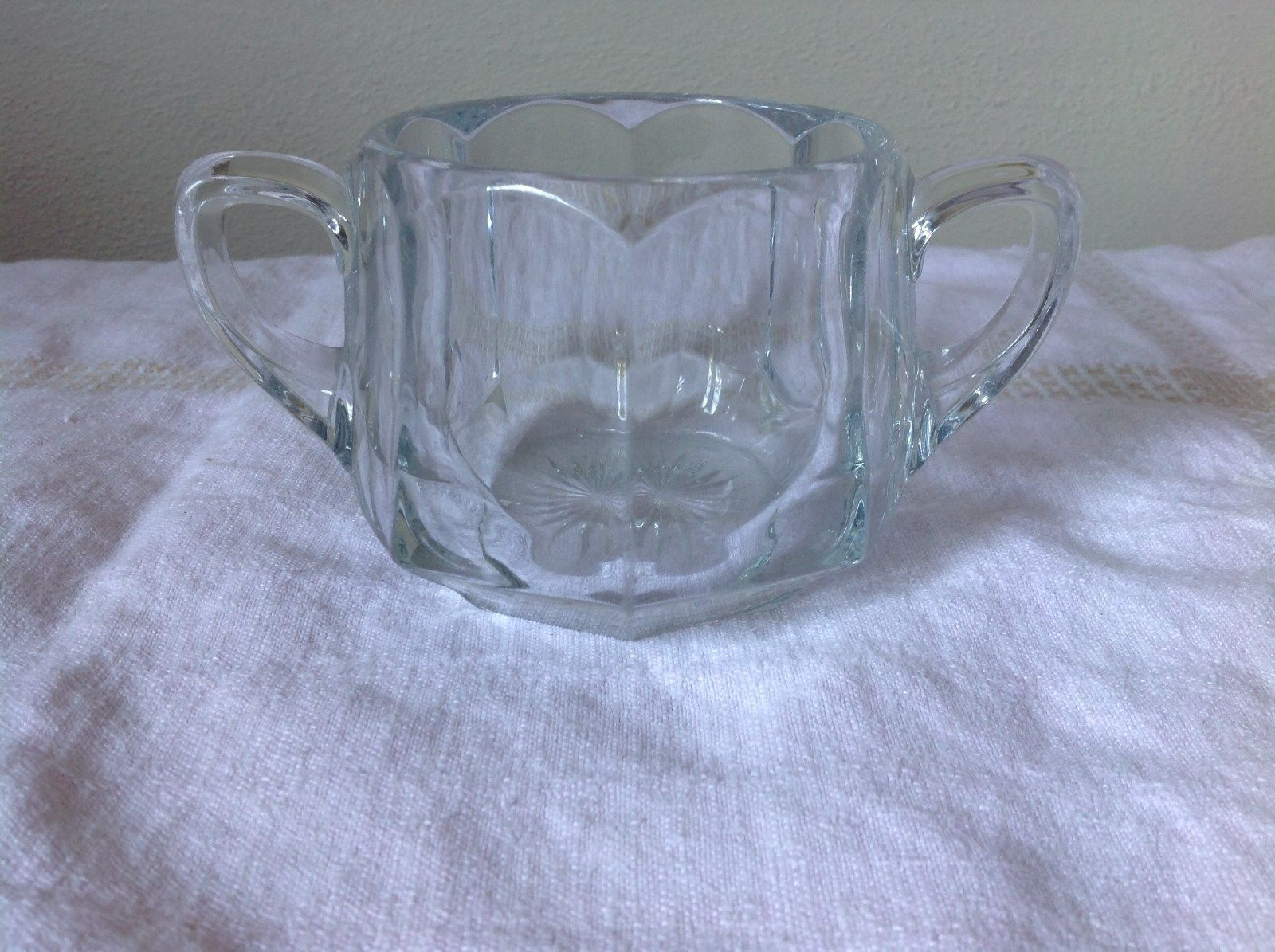 Two Handle Glass Cup H Eight Sided