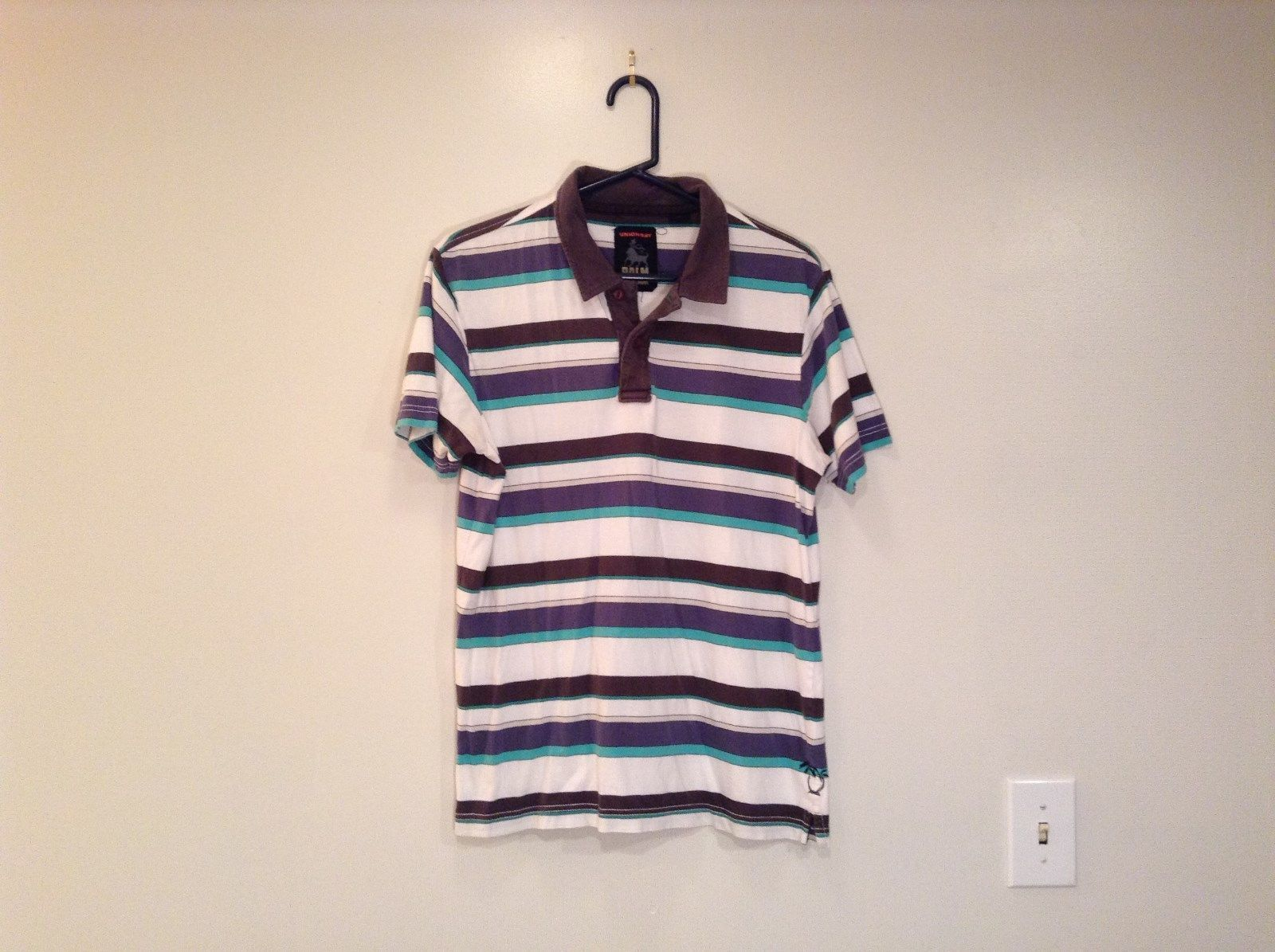Unionbay Size M White Brown Blue Green Strips with Brown Collar Short Sleeves