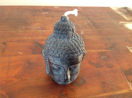 Unique New Black Buddha Head Pure Bees Wax Candle 4 Inches High