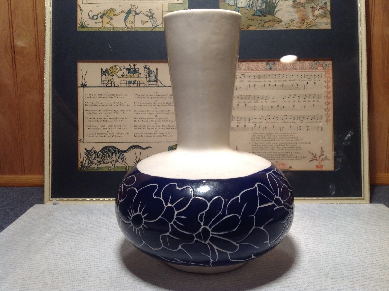 Unique Blue and White Flower Vase with White Flowers Etched on Blue Sides