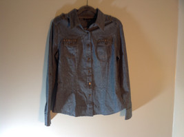Unique Spectrum Gray Light Denim Long Sleeve Button Up Size Small