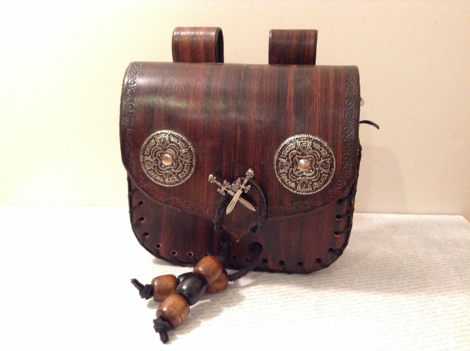 Unique Leather Belt Bag Purse Wooden Beads Swords Steam Punk