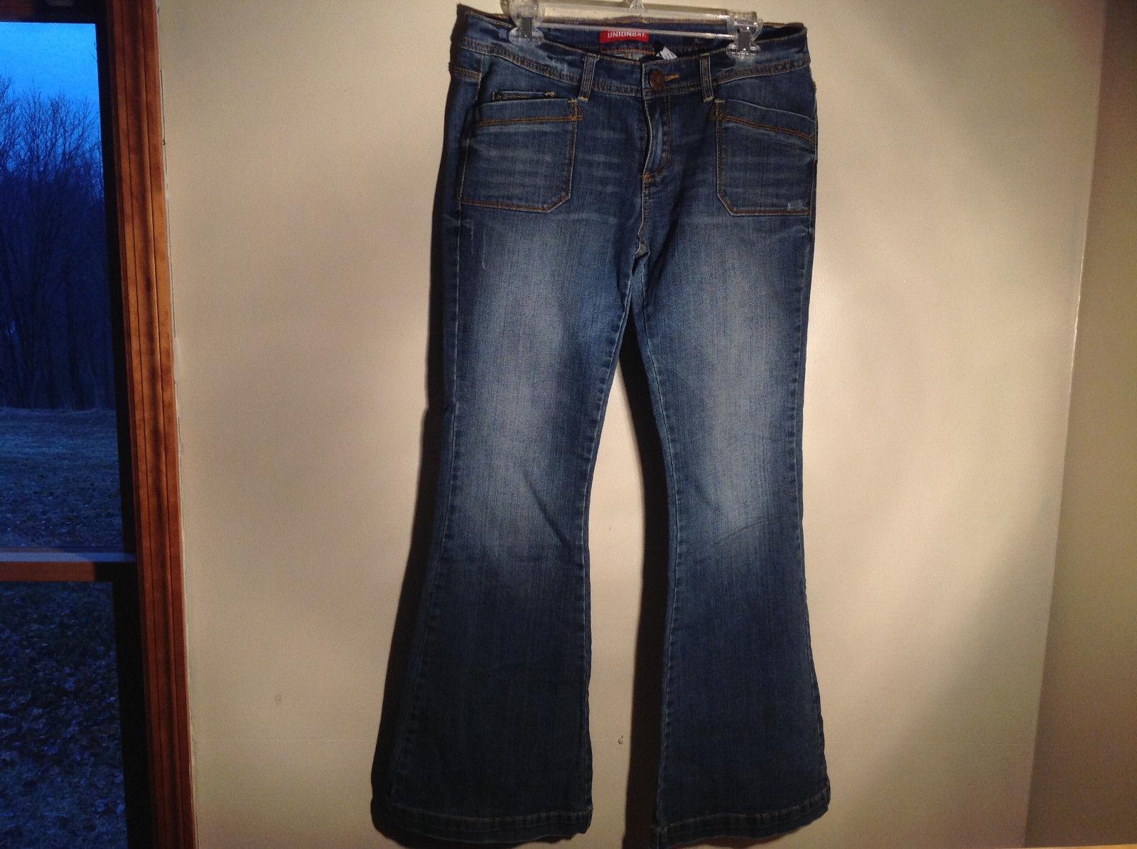Union Bay Super Flare Fancy Buttons Blue Denim Jeans Size 11