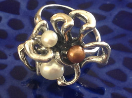 Unique Eclectic Sterling Silver White Mocha Three Pearl Ring Size Choice 7 or 8 image 1