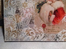 Russian Handmade 14x11 Mixed Media Christmas Collage Canvas, Christmas Greetings image 6