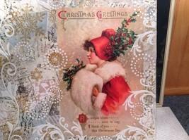 Russian Handmade 14x11 Mixed Media Christmas Collage Canvas, Christmas Greetings image 4