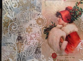 Russian Handmade 14x11 Mixed Media Christmas Collage Canvas, Christmas Greetings image 7