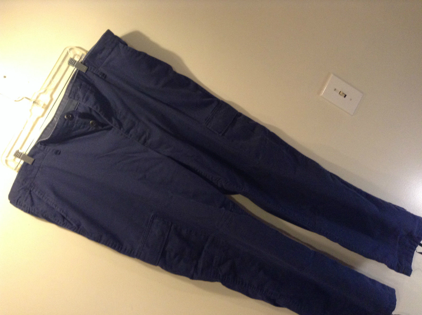 Trousers Combat Size XL Long Navy Blue Cargo Pants Tie at Legs Back Pocket