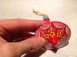 Russian Hand Painted Christmas Tree Ornament Red with Mini Doll Top Drodel Shape image 5