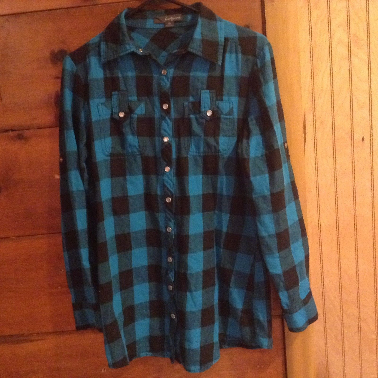 Twenty One Plaid Button Down Long Sleeve Casual Blue and Black Shirt Size M