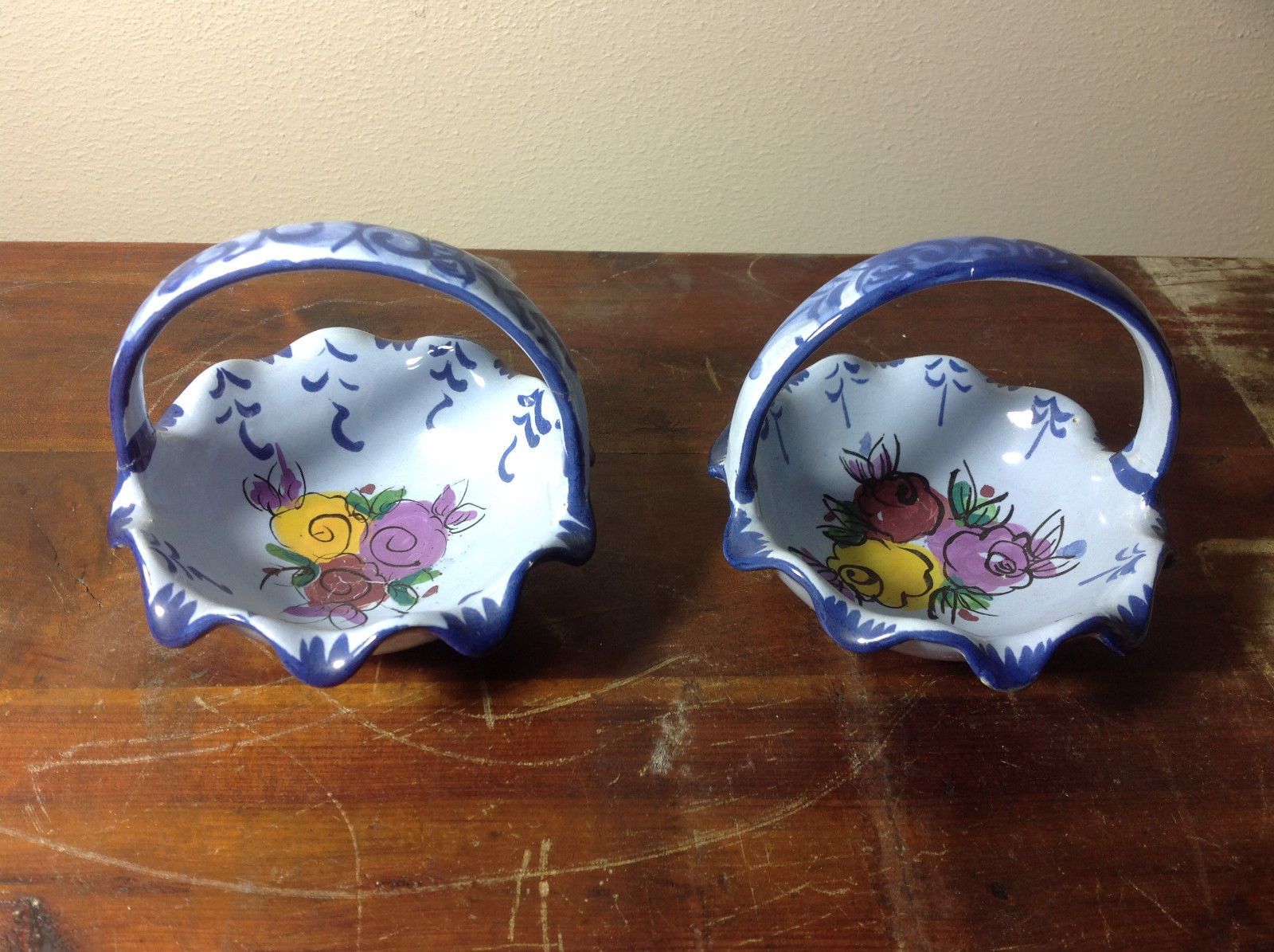 Two Piece Set of Matching Handmade Portuguese Bowls Blue and White with  Flowers