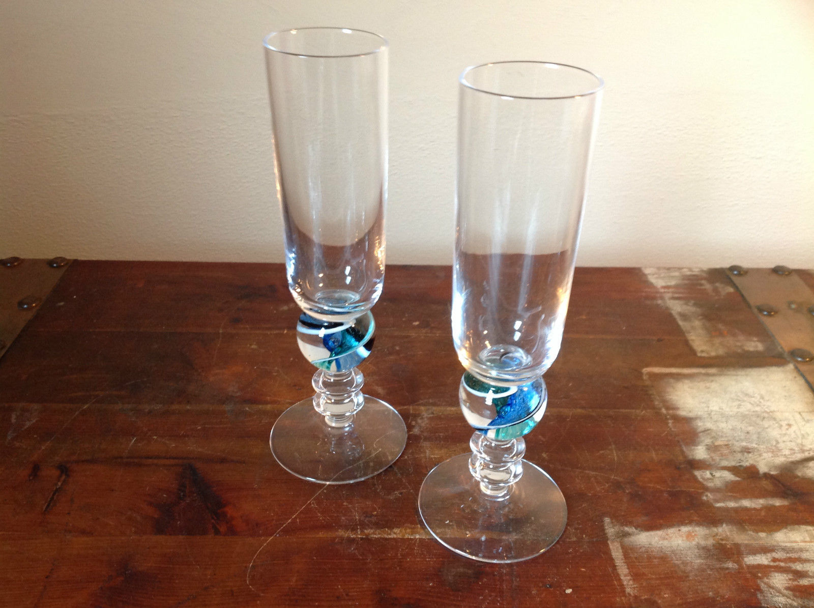 Two Piece Tall Champagne Glass Set Marble Esque Stem made in Devon UK