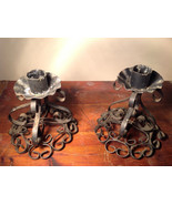 Two Piece Set Antique Candlestick Holders Black Metal 5 Inches Tall - $59.39