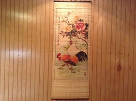 Two Roosters with Rose Bush Scroll Picture Wall Hanging Wooden Scroll Print