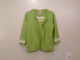 Two Piece Set Green Cardigan and Sleeveless Top Knitted Tribeca Studio Size L
