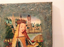Russian Artist Handmade Religious Canvas Holy Virgin with Book Artist L Mironova image 4
