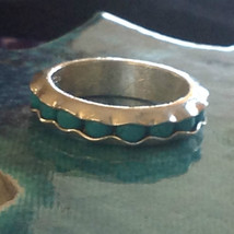 Turquoise Bead Wavy Inset Sterling Silver Satin Finish Ring Size Choice 7 or 8 image 1