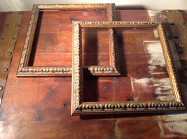 Two Piece Vintage Picture Frames  Wood Cooper Tone Look