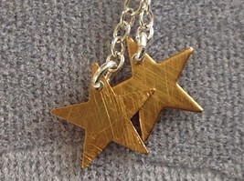 Two Shooting Stars Gold with Silver Chain Necklace Zina Kao Pearl on End