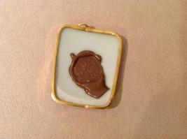 Asian style ceramic blue white pendant, gold tone frame, stamp on back image 4