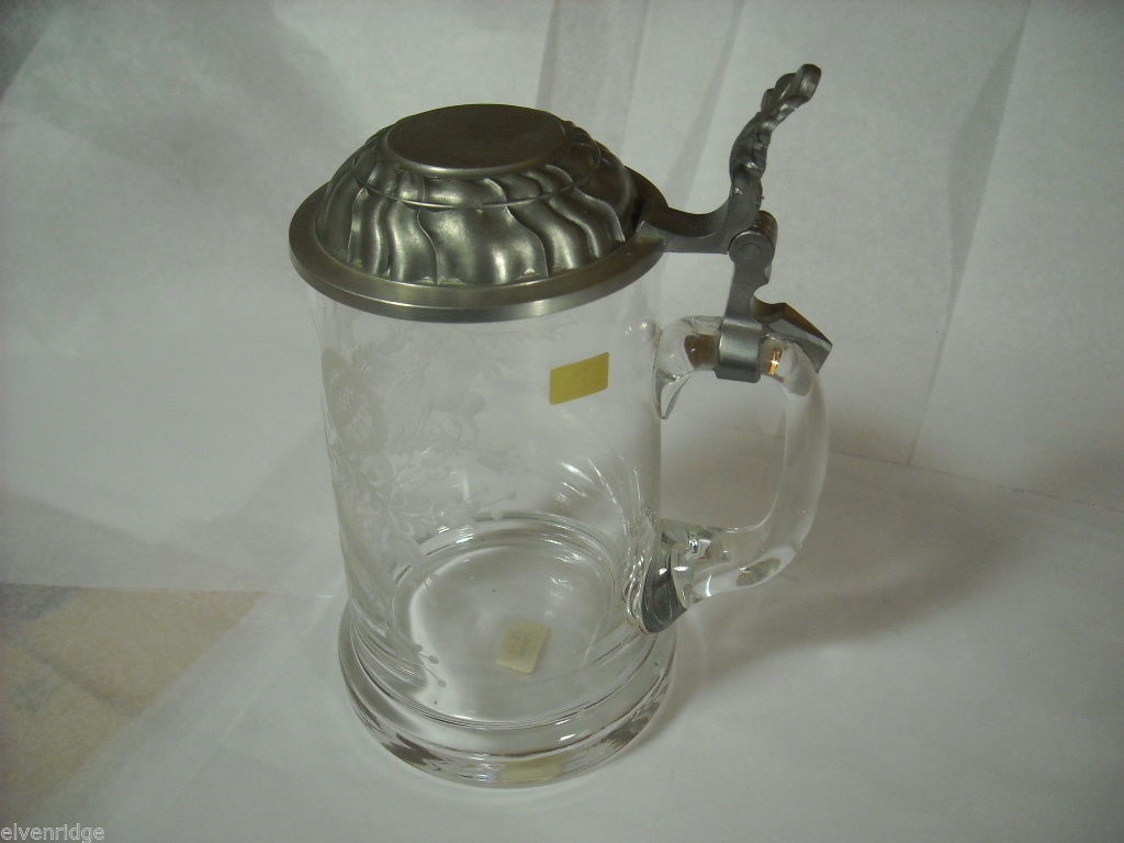 Tyrolean glass stein with metal lid Bavaria Ludwigsthal with deer and flowers