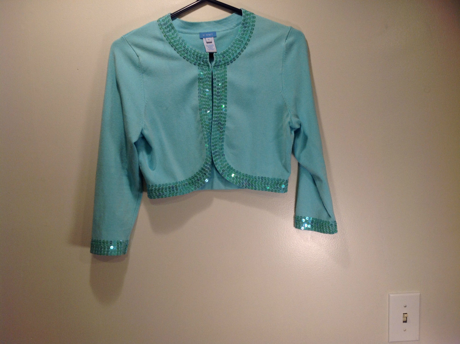 U Knit Light Blue Sweater with Circled Patterned Trim Down Front Sleeves Size M