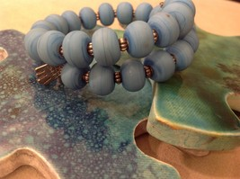USA hand made matte turquoise lampwork easy wear memory wire bracelet