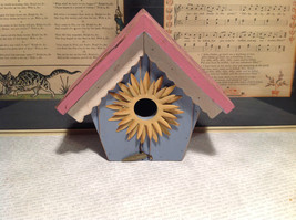 Rustic Pink and Blue Faux Bird House with Yellow Flower Wall Decoration image 2