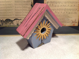 Rustic Pink and Blue Faux Bird House with Yellow Flower Wall Decoration image 3