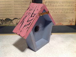 Rustic Pink and Blue Faux Bird House with Yellow Flower Wall Decoration image 6