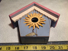 Rustic Pink and Blue Faux Bird House with Yellow Flower Wall Decoration image 7