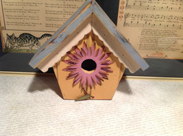 Rustic Blue and Beige Faux Bird House with Pink Flower Wall Decoration image 2
