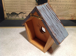 Rustic Blue and Beige Faux Bird House with Pink Flower Wall Decoration image 5