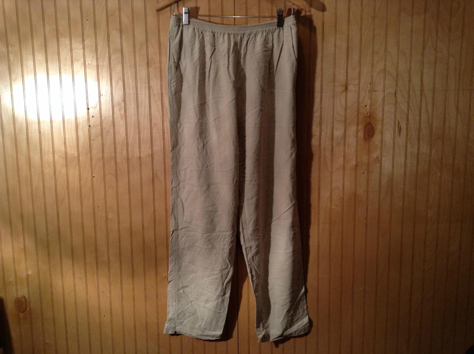 Unbranded 100 Percent Silk Tan Comfort Pants Size Large Elastic Waist