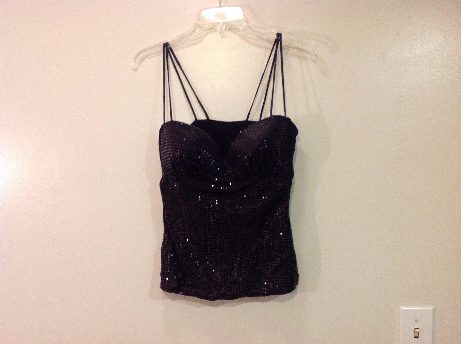 Ungaro Lingerie Black Metallic Sequins Short Top Size L