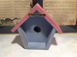 Rustic Pink and Blue Faux Bird House with Yellow Flower Wall Decoration image 5