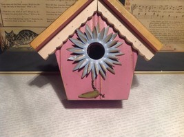 Rustic Wood Pink Birdhouse Wall Decoration With Blue Flower image 3