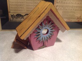 Rustic Wood Pink Birdhouse Wall Decoration With Blue Flower image 6