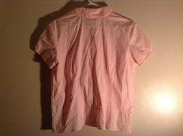 Salmon Pink Button Up Stretch Short Sleeve Shirt Size XL image 5