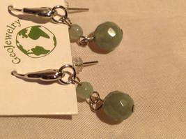 Attractive Aventurine Stone Dangling Silver Tone Earrings Hook Pack GeoJewelry  image 3