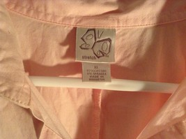 Salmon Pink Button Up Stretch Short Sleeve Shirt Size XL image 3